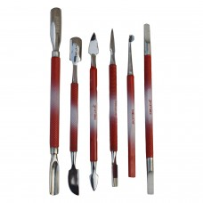 6 Piece Cuticle Nail Pushers set Red